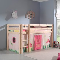 Lit surélevé 90x200 cm avec échelle naturel décor nature rose - PINO
