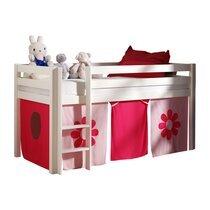 Lit surélevé 90x200 cm avec échelle blanc décor fleurs roses - PINO