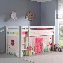 Lit surélevé 90x200 cm avec échelle blanc décor nature rose - PINO