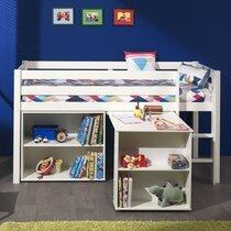 Lit surélevé + bibliothèque 2 niches + bureau blanc - PINO
