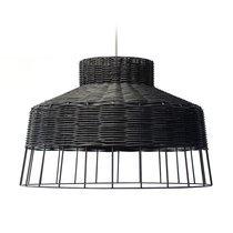 Suspension ronde 39 cm en rotin noir et métal