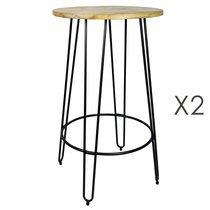 Table de bar ronde 60x105 cm en bois et métal