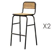 Lot de 2 chaises de bar 42x46x104 cm en bois et métal