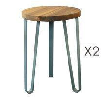Lot de 2 tabourets 32x32x46 cm en bois et métal bleu - MELODIE
