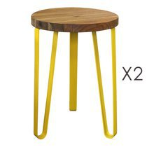Lot de 2 tabourets 32x32x46 cm en bois et métal jaune - MELODIE