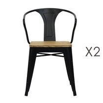 Lot de 2 chaises avec accoudoirs assise bois et métal noir - ARTY
