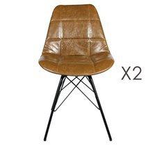Lot de 2 chaises repas en PU marron