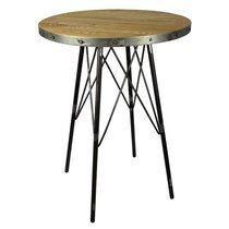 Table de bar ronde 80 cm en bois et métal