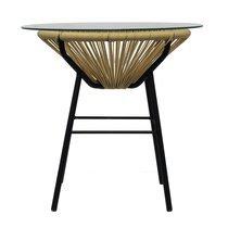 Table ronde 52x52x50 cm en verre et PVC tressé beige