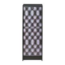 Classeur à rideau noir et décor capitons H103cm