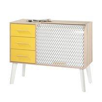 Meuble d'entrée chêne/blanc tiroirs jaunes et rideau décor vagues