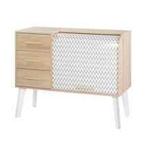 Meuble d'entrée chêne/blanc tiroirs chêne et rideau décor vagues