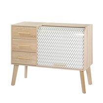 Meuble d'entrée chêne avec 3 tiroirs chêne et rideau décor vagues
