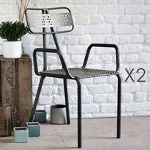 Lot de 2 chaises avec accoudoirs en métal 57x55x88 cm