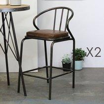 Lot de 2 chaises de bar en PU marron et métal noir