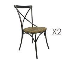 Lot de 2 chaises en bois naturel et métal noir - BISTRONO