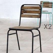 Lot de 2 chaises en bois naturel et métal bleu - HANOVRE