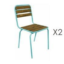 Lot de 2 chaises en bois naturel et métal bleu flashy - HANOVRE