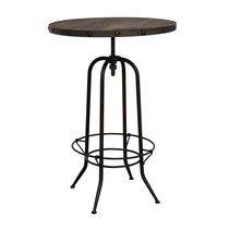 Table de bar ronde 80 cm en bois et métal noir - ATELIER METAL