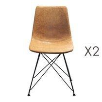Lot de 2 chaises en PU marron clair - INDUSTRIO