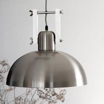 Suspension ronde 38 cm en métal gris brillant et blanc