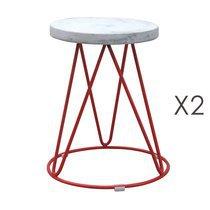 Lot de 2 tabourets 38x38x45 cm en métal rouge et assise béton