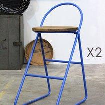 Lot de 2 tabourets de bar design en bois et métal bleu - MELODIE