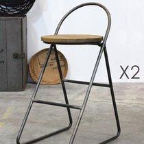 Lot de 2 tabourets de bar design en bois et métal noir - MELODIE