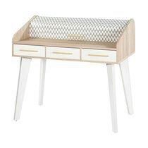 Bureau chêne/blanc avec 3 tiroirs blancs et rideau décor vagues