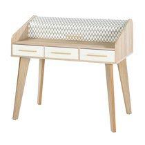 Bureau chêne avec 3 tiroirs blancs et rideau décor vagues