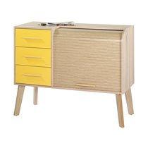 Meuble d'entrée chêne avec 3 tiroirs jaunes et rideau chêne