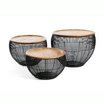 Set de 3 tables basses 48/42/38 cm en manguier naturel et métal