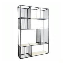 Etagère design 4 niveaux 120x35x190 cm en manguier blanchi et métal
