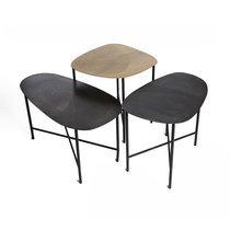 Set de 3 tables d'appoint 80/60/50 cm plateaux en fer gris et laiton