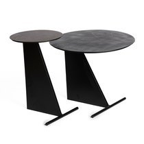 Set de 2 table d'appoint 50 et 40 cm en fer noir