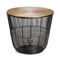 Table d'appoint ronde 38 cm en métal noir et plateau or