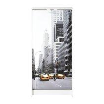 Meuble à chaussures blanc avec décor New York 120 cm