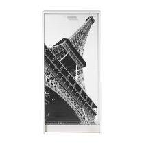 Meuble à chaussures blanc avec décor tour Eiffel 120 cm
