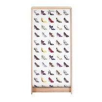 Meuble à chaussures chêne avec décor escarpins 120 cm