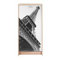 Meuble à chaussures chêne avec décor tour Eiffel 120 cm
