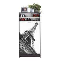 Meuble à chaussures noir avec décor tour Eiffel 120 cm
