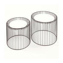 Lot de 2 tables basses rondes 38/45 cm plateau en métal blanc et fer