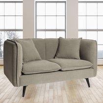 Canapé 2 places fixe 138x67x76 cm en tissu gris - SONIA