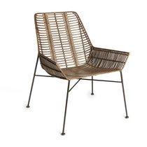 Chaise 67x62x79 cm en rotin foncé et métal noir