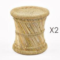 Lot de 2 poufs 38x38x38 cm en bambou naturel