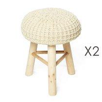 Lot de 2 poufs 31x31x42 cm en laine beige et pieds bois - NUAGE