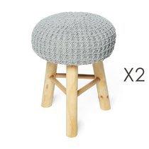 Lot de 2 poufs 31x31x42 cm en laine gris et pieds bois - NUAGE
