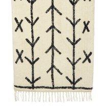 Tapis en laine 70x140 cm imprimé flèches blanc et noir