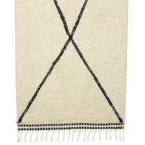 Tapis en laine 70x140 cm imprimé croix blanc et noir
