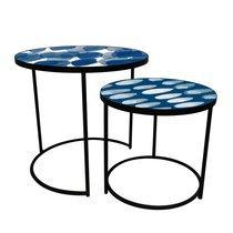 Set de 2 tables rondes 62 et 49 cm plateau à motifs blanc et bleu
